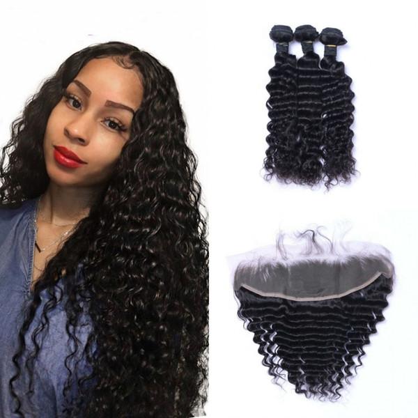 Индийский человеческих волос глубокая волна 3 Связки с кружевом фронтальным уха до уха Девы волос 13x4 Фронтальная Закрытие с Связки