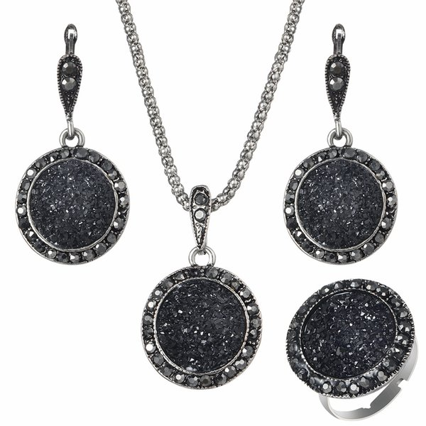 Wholesale Vintage Black Gem Jewelry Set Fashion Women Jewelry Set Antique Silver Crystal Round Stone Pendant Necklace Earrings Sets 3Pc