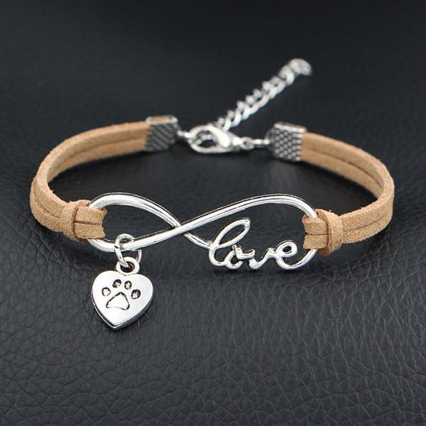 Bohemian Fashion Infinity Love Pets Cat Dog Paw Heart Pendant Charm Bracelets Beige Leather Suede Rope Women Men Charm Party Wedding Jewelry
