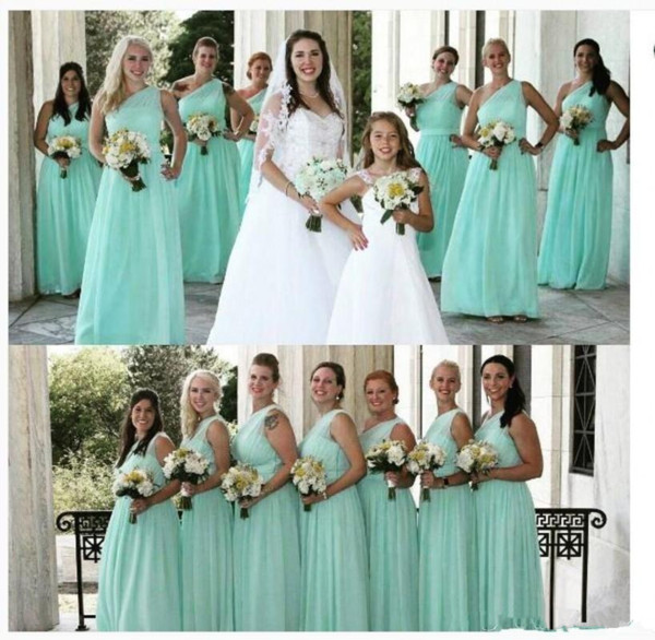 Mint Turquoise 2019 New Cheap Bridesmaid Dresses Sexy One Shoulder Long Chiffon Beach Summer Plus Size Wedding Party Maid Of Honor Gowns Destination