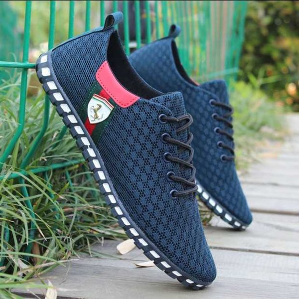 top popular Spring and summer net shoes double mesh breathable soft bottom casual shoes youth hollow mesh peas shoes large size 2019