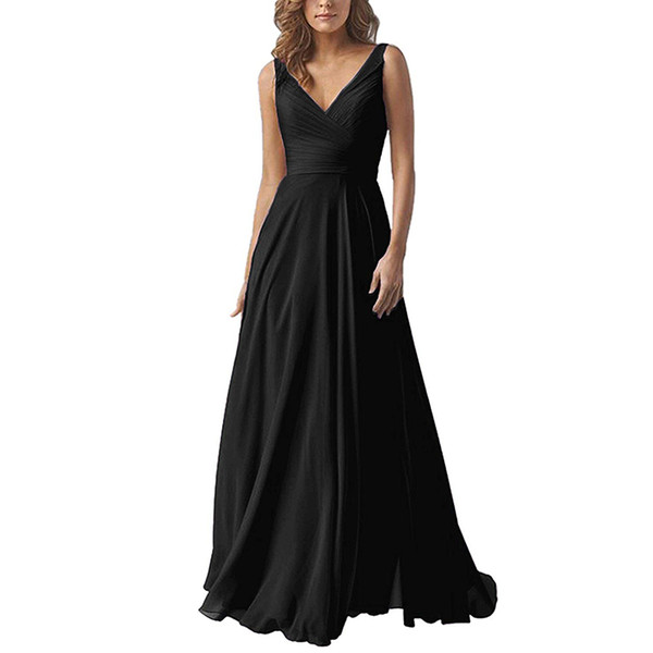 V Neck Elegant Long Bridesmaid Dress Gray Chiffon Evening Dress Sexy Open Back Vestido De Festa Evening Gowns Vestido Longo 2019