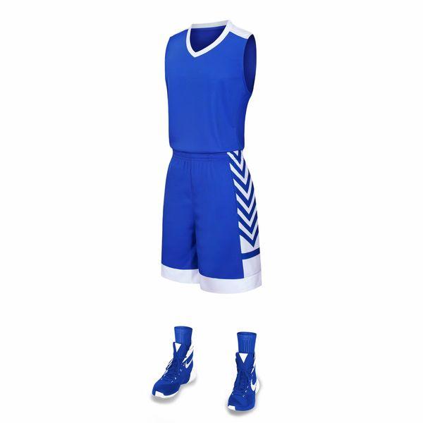 Bon marché 2019 hommes Ensembles de formation de basket-ball avec des uniformes maillots de basket-ball réversibles Shorts pour cette maison et loin chercher des kits de sport A44-21