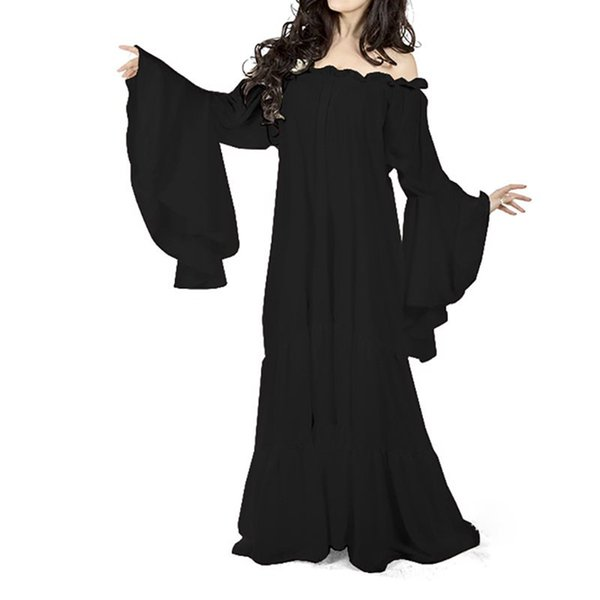 White Party Elegant Long Dress Women Plus Size Flare Sleeve Medieval Vintage Robe Sexy Off Shoulder Evening Gothic Maxi Dresses