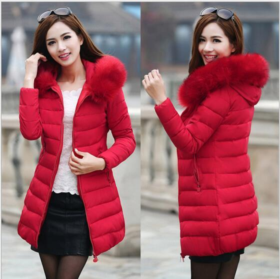 Winter 2019 New down cotton padded women's jacket Europe and the United States Slim long coat cotton thick cotton quilted collar down jacket