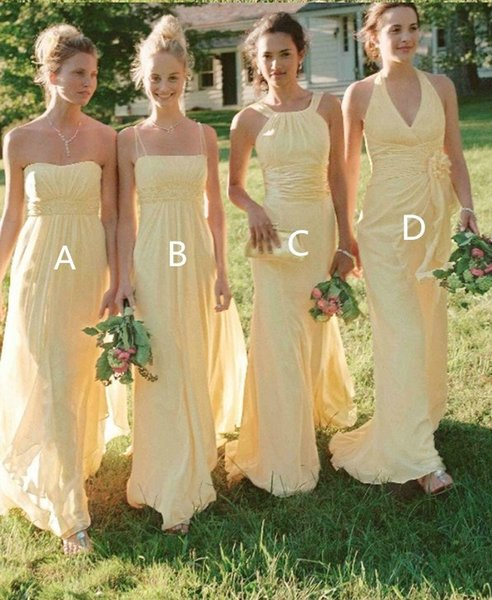 Light Yellow Bridesmaid Dresses 2019 Long Cheap Country Designer Chiffon Pleated Beaded Sequins Bridesmaid Dress For Wedding Party Dress