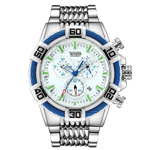 New Brand Top Quality Men's Wristwatches Large Dial Multifunction Man Watch Military Sports Waterproof Quartz Steel Men Watch Male Clock