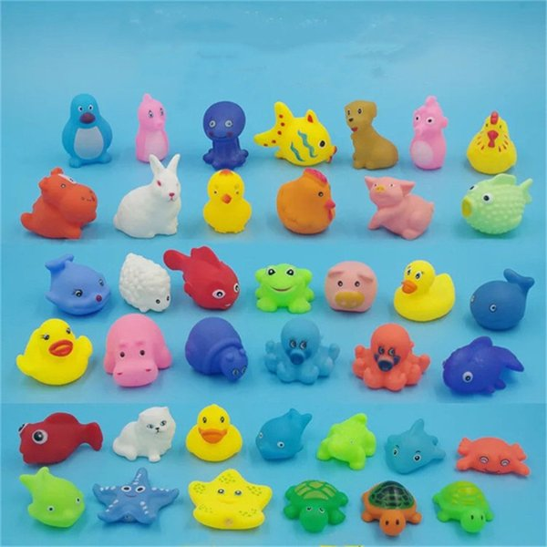 Free Shipping reloj Baby Bath Toys Shower Water Floating Squeaky Yellow Ducks Cute Animal Squeeze Sound Baby Shower Toys Rubber Water Toys