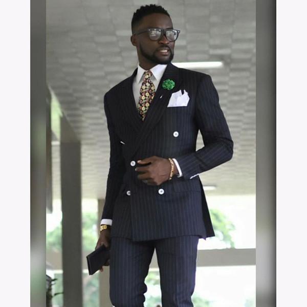 Ucuz Ve Ince Kruvaze Groomsmen Tepe Yaka Damat Smokin Erkek Takım Elbise Düğün / Balo / Akşam Yemeği Best Man Blazer (Ceket + Pantolon + Kravat) A200