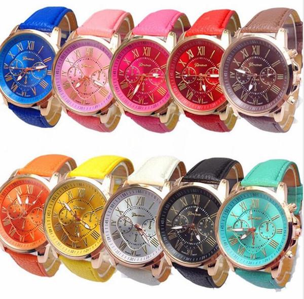 50 unids moda mujer vestido ginebra reloj mujer color oro rosa Moda Roma reloj mujer vestido relojes correa de cuero relojes D1