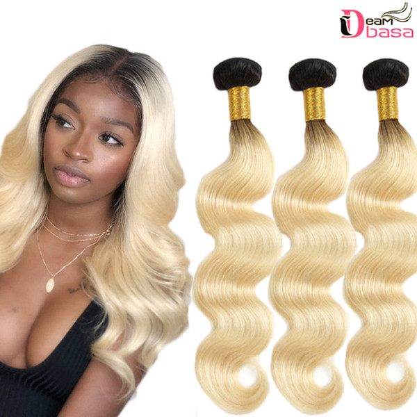 Ombra Body Wave Bundles 1b 613 Human Virgin Hair Unprocessed Brazilian Hair Extension Black Root Blonde Ombre 1b 613 Body Wave Bundles