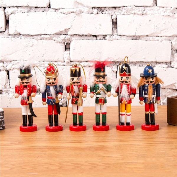 Christmas Decoration Nutcracker Puppet Soldier 12cm Wood Soldier Toy Christmas Tree Ornament Party Decoration Kid Christmas Gift DBC VT0378