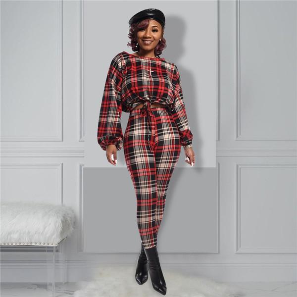 designer womens 2pcs pants fashion plaid striped slim suits womens casual pencil pants - from $25.41