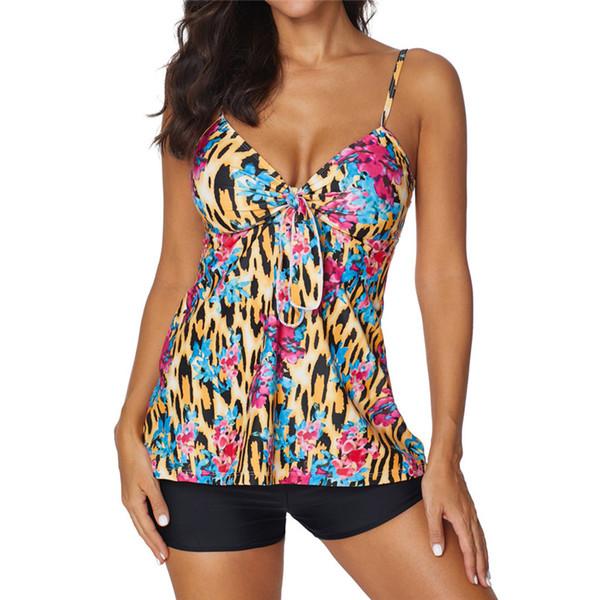 Traje de baño de dos piezas para mujer con vestido halter con estampado de leopardo conservador y cintura alta. Traje de baño conjunto de ropa de playa 40mr11.