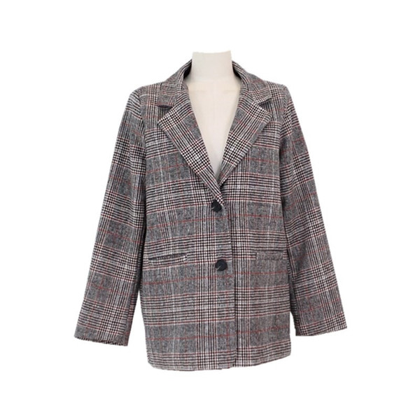 Spring and Autumn Winter Korean version of the new college wind retro plaid long-sleeved suit long woolen jacket #408703