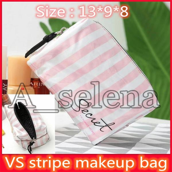Famoso segredo Marca Stripe armazenamento Zipper Bag para as Mulheres Beleza Lavar maquiagem Segredo Bolsa Meninas Viagem Cosmetic Organizador Cosmetic Bags
