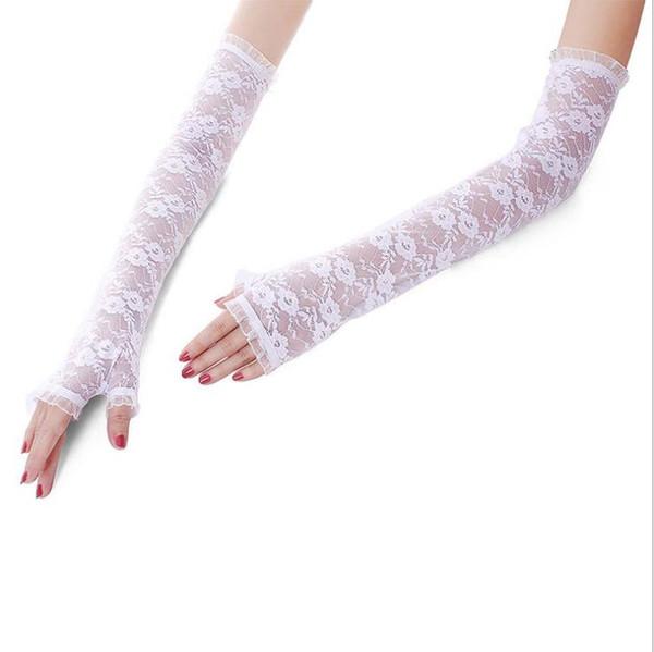 Fashion New Summer Half Finger Lace Sunscreen Gloves Long Elbow Driving Sunshade Wedding Garment Etiquette Open Finger Gloves for Ladies
