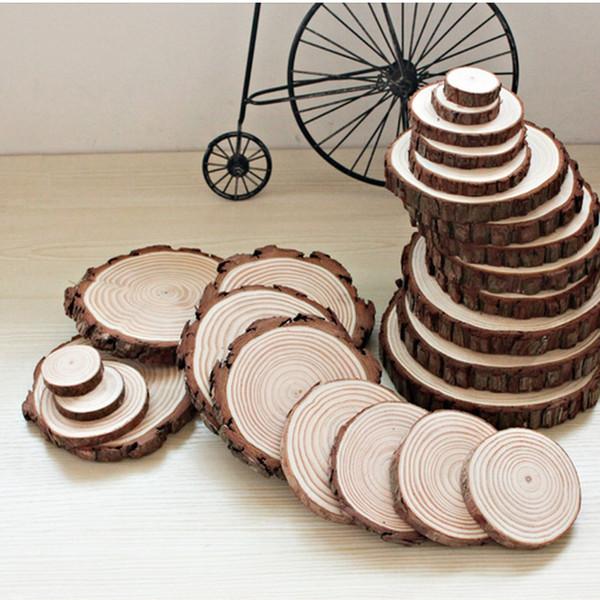 Dessous de bois en pin, tranches de tailles variées, tranches d'arbre rustique pour artisanat dessous de verre naturel, hauteur 5 mm
