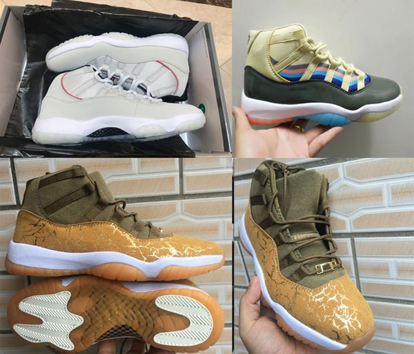 new 11 Prom Night Jumpman 11 XI Basketball Shoes White Claret Olive Gold PRM Heiress Concord 23 45 Mens Trainers 11S Sport Sneakers