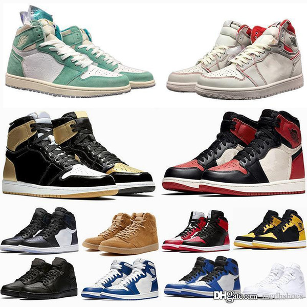 Designer trainers shoes 1 Chicago OG Sports Shoes Mens 1S 6 rings Sneakers Bred Toe outdoor Women MID New Casual Shoes size 36-47