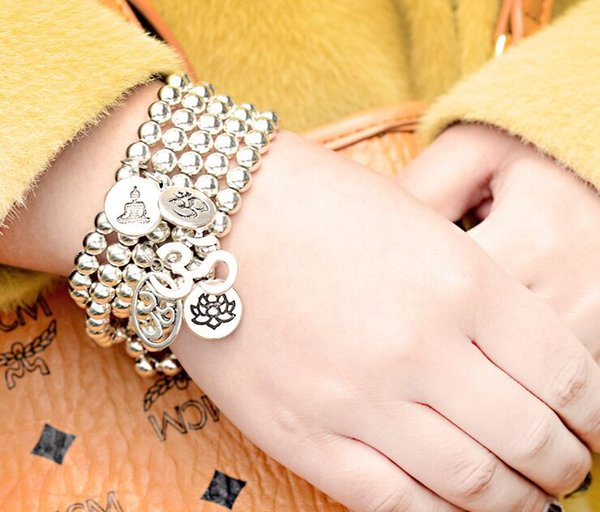 20 unids / lote Alloy Beads Lotus OM Buddha Charms Yoga Pulseras Brazalete Para Hombres Mujeres Pulseras DIY regalo