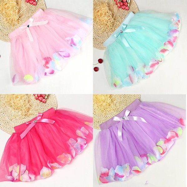 Baby Girls Childrens Kids Dancing Tulle Tutu Skirts with colorful petal lace dress Bubble Skirt baby clothes
