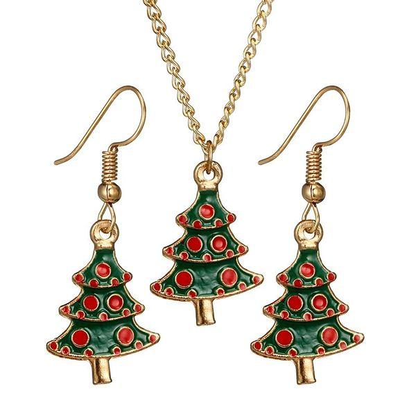 Set di gioielli in lega di smalto albero di natale collana lunga gioielli orecchini orecchini carino per le donne regali di Natale