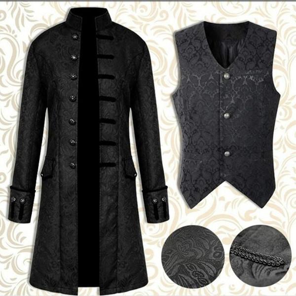 New Steampunk Herren Windbreaker Retro Trench Man Jacke Mantel Gothic viktorianischen Kleid Uniform mittelalterlichen Mantel / Weste Opera Kostüm