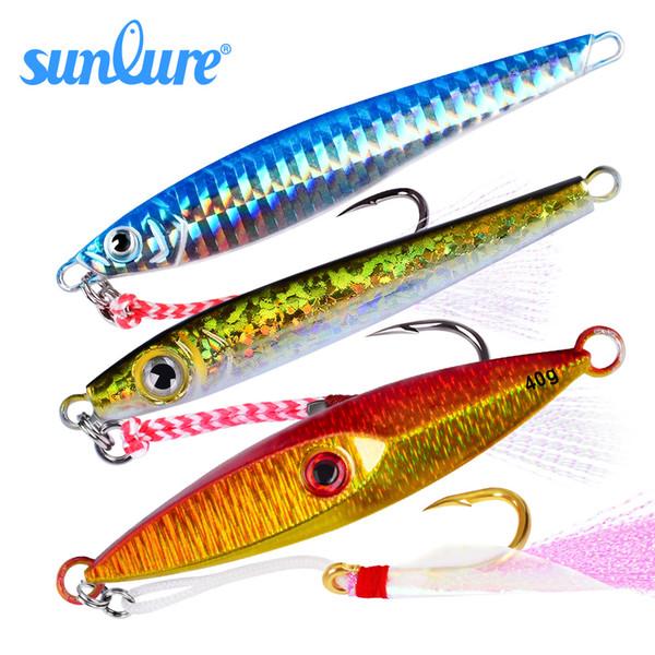 Fishing Lures 1PC Hot Jigging Lead Fish 40-35G-35G/8.5-8cm-9cm Metal Jig Fishing Lure with Nepal Hooks 5 Colors Wobbler Hard Bait