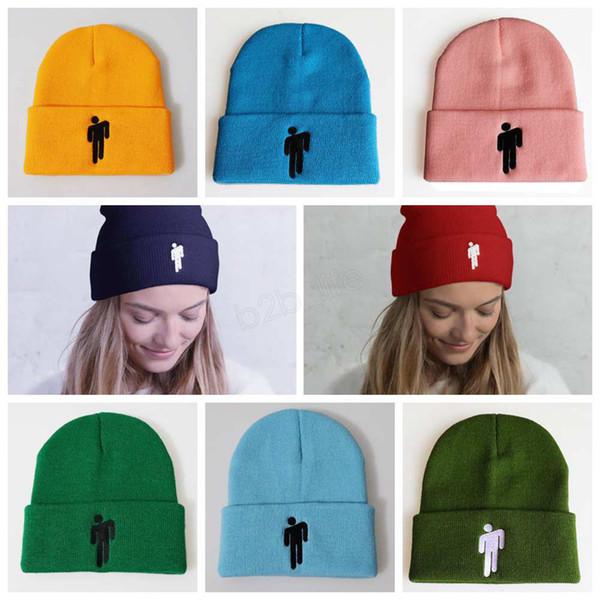 Billie Eilish Beanie Sombreros de punto de invierno Gorra deportiva unisex Gorro de diseño de lana Hombres Hip Hop bordado Sombrero LJJA2834