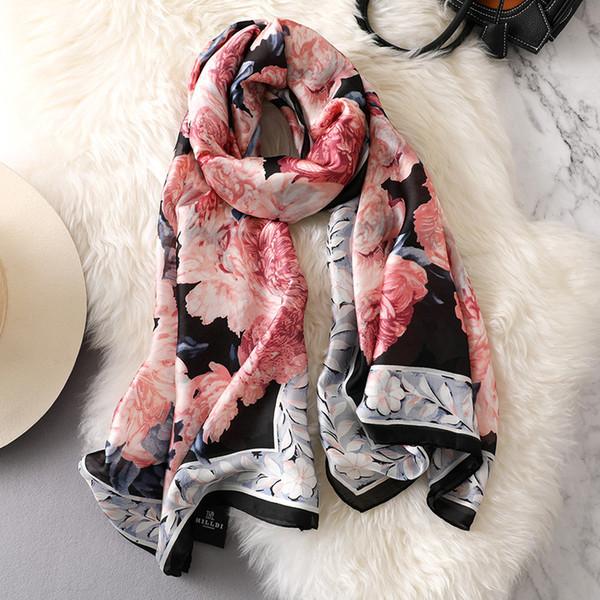 180x90cm Women Silk Scarf Shawl Female floral Silk Scarves Wraps Plus Size Shawls Long Beach Cover-ups Muslim hijab Scarf
