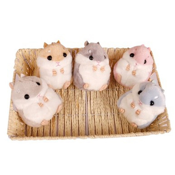Cute Pompom Keychain Fluffy Mini Hamster Key Chains Bag Car Hamster Keyrings Lovely Plush Doll Keychains