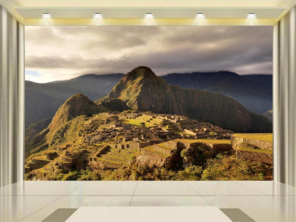 Personnalisé taille 3d photo papier peint salon chambre lit mural Machu Picchu architecture vue image canapé TV toile de fond papier peint non-tissé autocollant