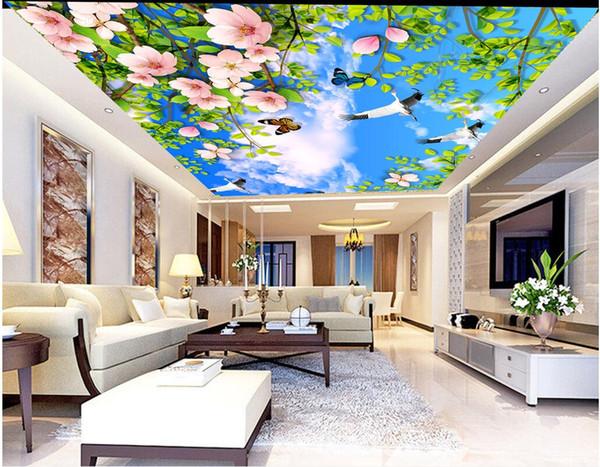 3d ceiling murals wallpaper custom photo Plant flower blue sky white clouds living room home decor 3d wall murals wallpaper for walls 3 d