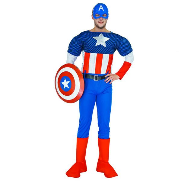 Qualitäts-amerikanischer Kapitän Kostüm Superheld-Kostüm Mit JumpsuitShieldBelt Für Halloween Karnevalsparty Superheld Imitate