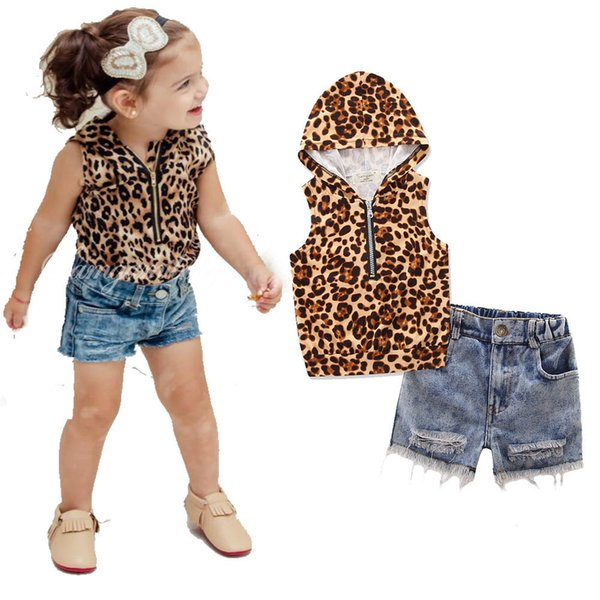 Summer Girls Leopard Hooded Cardigan T-Shirt and Denim Shorts Set
