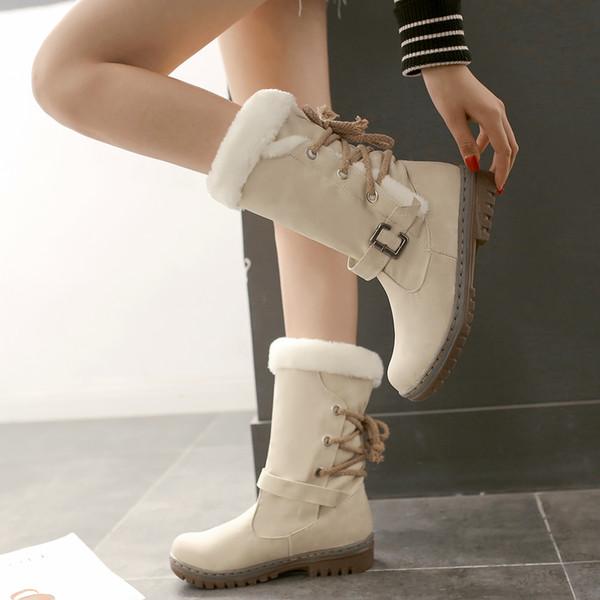 2019 Fashion Cotton Boots Winter Women Mid-calf Boots with Fur Leather Lace Up Ladies Shoes Plus Size 35-43 Snow Boots QBT1077