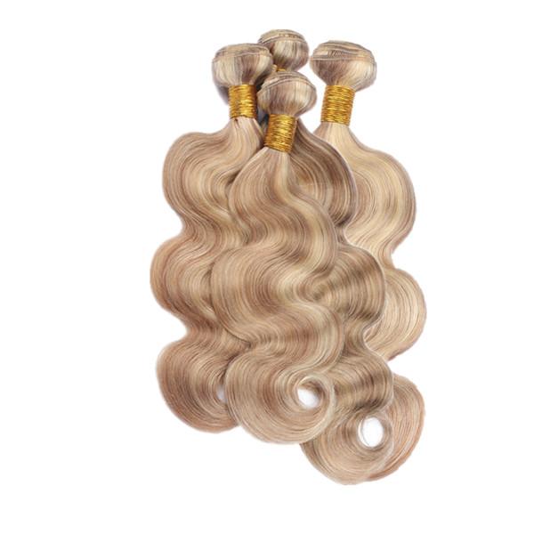 Körperwelle Reine Haarverlängerungen 10-30 Zoll # 8 613 Zwei Ton Ombre Haar 4 Bundles Körperwelle Wellenförmige Menschliche Haarwebart 4Pcs / lot