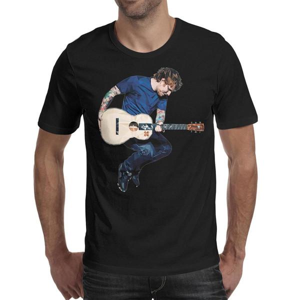 Los hombres diseñan la impresión Ed Sheeran X + Álbum Guitarra camiseta negra impresión personalizada fresco loco campeón camisas lema camiseta h moda