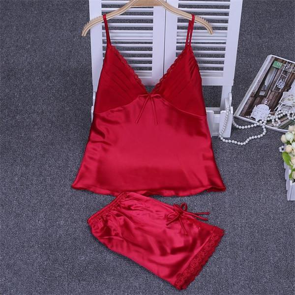 Sexy 2PC en satin rouge femmes mariage pyjama fines bretelles courtes Pantalons pour dames Chemise de nuit d'été Dentelle Accueil Wear M L XL XXL