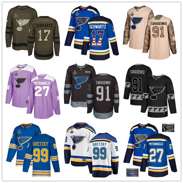St. Louis Blues personnalisé Jersey 99 Gretzky 17 Schwartz 27 Pietrangelo 11 Schenn 90 O'Reilly 57 Perron 91 Vladimir Tarasenko Etats-Unis Drapeau de hockey je