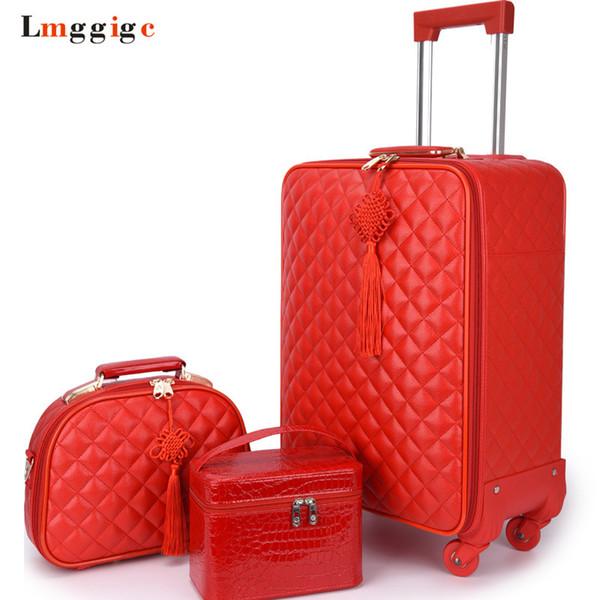 Kadın Bavul çanta set Seyahat Haddeleme Bagaj, Kırmızı Su Geçirmez PU deri Çanta ile Tekerlek, 20