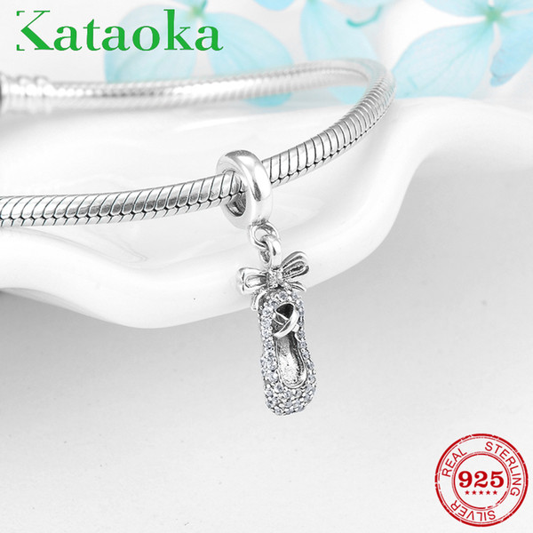 Fashion Charms Ballet Shoes With Clear Crystal CZ Silver 925 Pendants Fit Original Pandora Charm Bracelet Jewelry making
