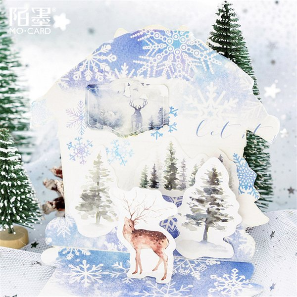 45Pcs/set kawaii notebook fashion cute Forest elk pattern Diary planner Christmas decorations school supplies stationery