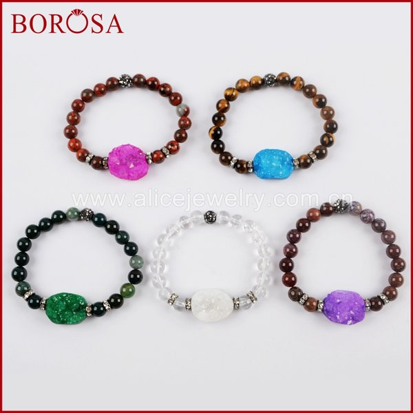 BOROSA 5pcs Rainbow A-gate Druzy With 8mm Multi-kind Stone Beads Bracelet Mixed Colors Gems Bangles Drusy Jewelry G1556