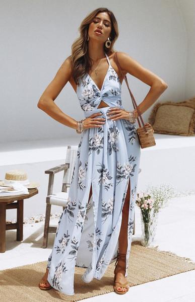 Kadın Bölünmüş Elbise ile Kayış Moda Yaz Plaj Tatil Uzun Baskılı Elbiseler Rahat Tatil Bayan Elbise Oymak