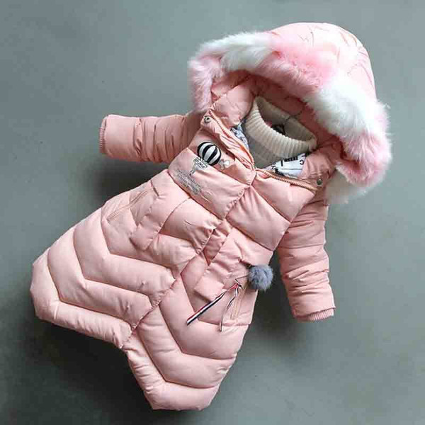good quality 2019 new girls winter outerwear children fashion hooded down cotton jacket thickened warm long section baby girl coats