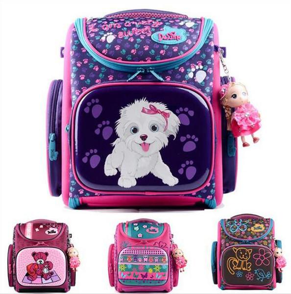 Sacchetto europeo della scuola dei bambini Cute Cartoon Dogs Orso Zaini Ragazze bambini 3D impermeabile Bookbag Studente ortopedico Schoolbag Q057