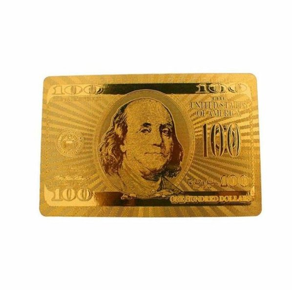 top popular Hot Waterproof Gold Foil Plated Card Game Playing Cards Plastic Poker Gold 24K Traditional dollars Poker Playing Cards 2020