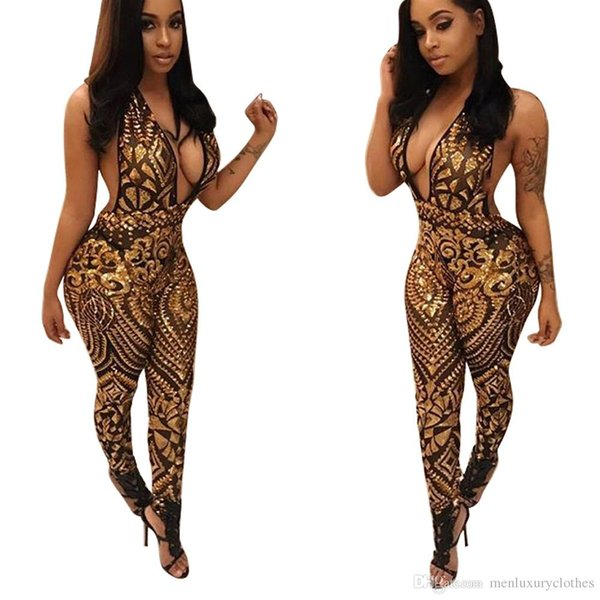 Women Sexy V-neck Gold Club One Piece Jumpsuits Black Black Slim Fit Halter Mesh See Through Rompers